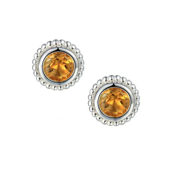 Dimple Citrine Stud Earrings Sterling Silver by Amore