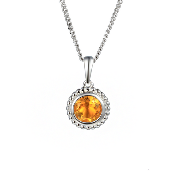 Dimple Citrine Necklace Sterling Silver by Amore