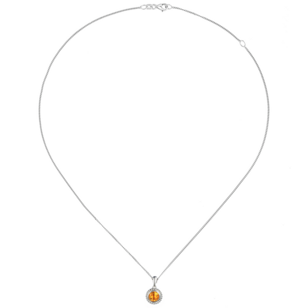 Dimple Citrine Necklace Sterling Silver with chain