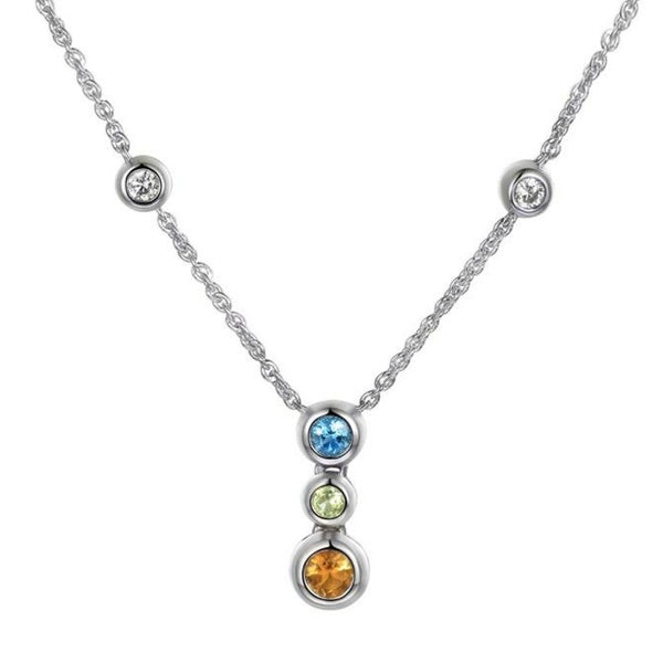 Multi Coloured Orb Necklace by Amore Sterling Silver 9306SILCZBTCTP