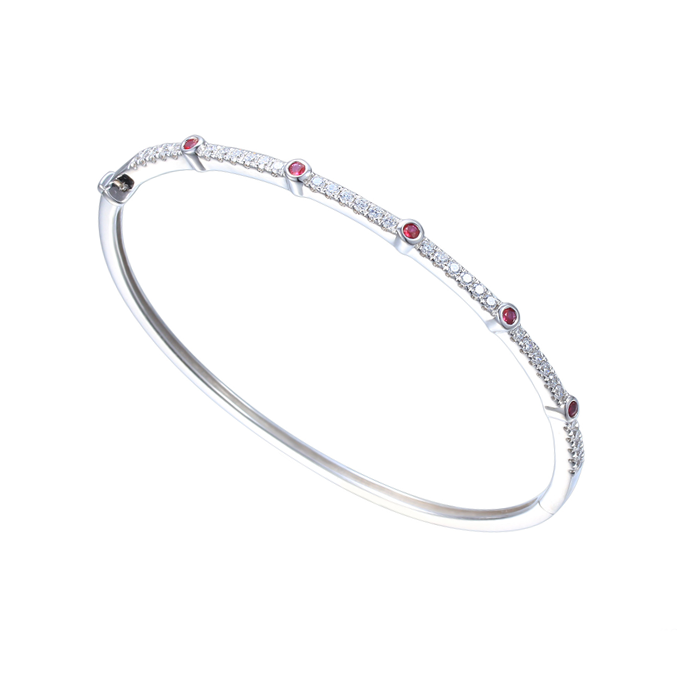 Amore Silver CZ & Ruby Bangle 9315SILCZ/R