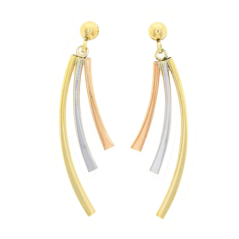 9ct Three Colour Gold Curved Drop Earrings