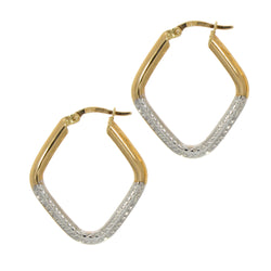 Yellow and White Lozenge Hoop Earrings 9ct Gold