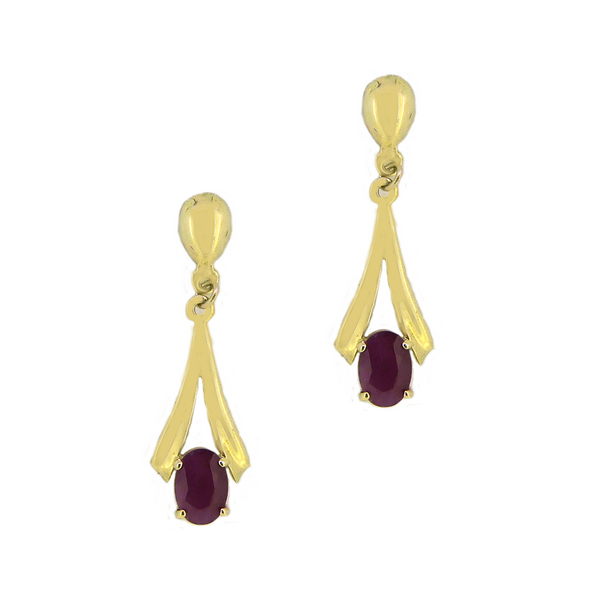 9ct Gold Ruby Drop Earrings
