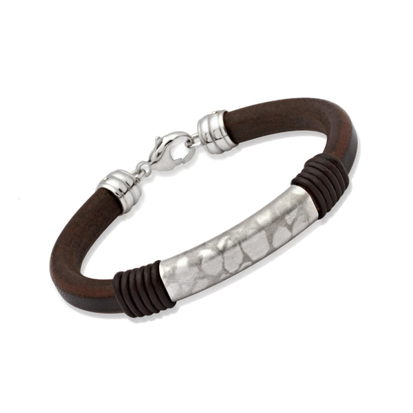 Unique & Co Mens Silver & Leather Bracelet  AB9BL