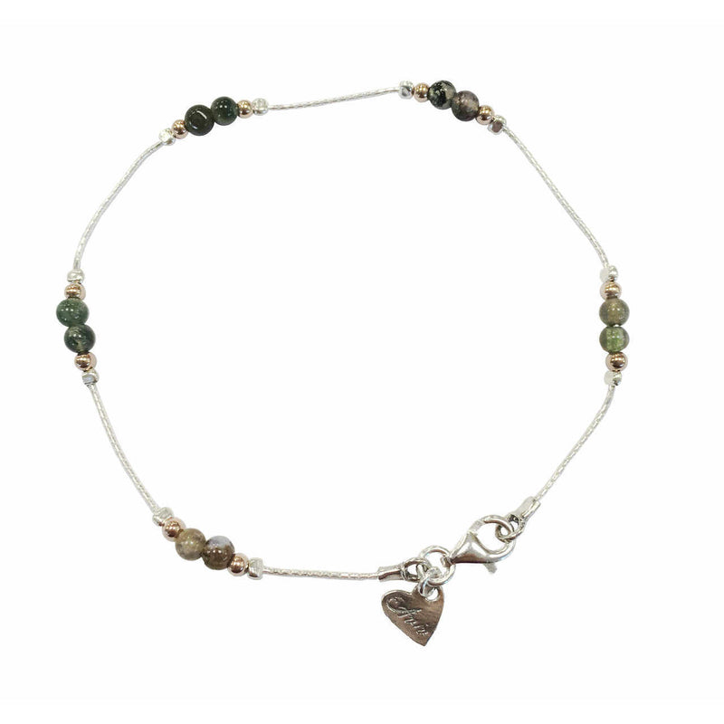 Aviv Silver Indian Agate Anklet ASA019A