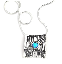 Aviv Silver Square Pendant with Opal ASN420OP