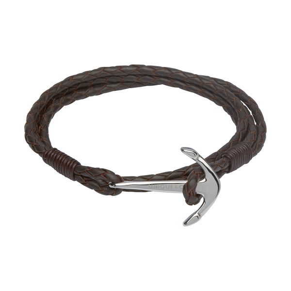 Unique & Co Mens Leather Anchor Bracelet B286DB