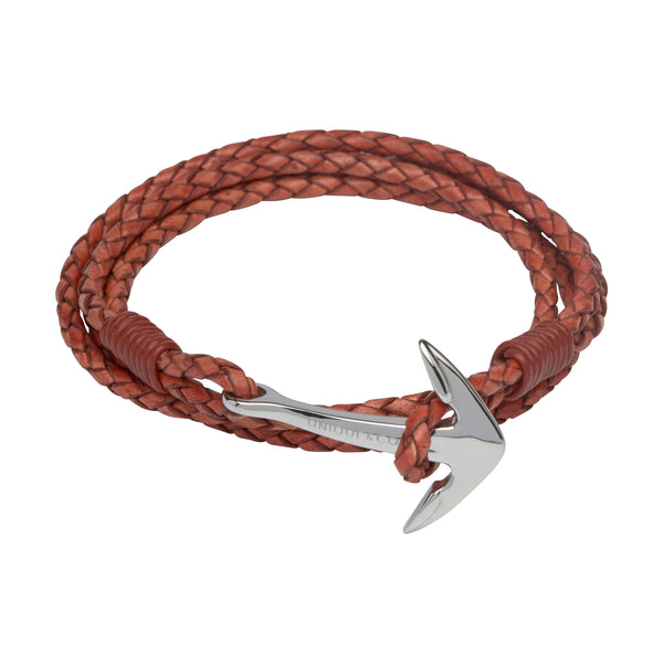 Unique & Co Mens Leather Anchor Bracelet B288