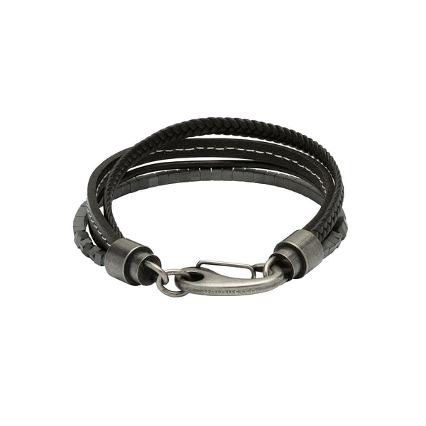 Unique & Co Mens Leather & Hematite Bracelet B387WH