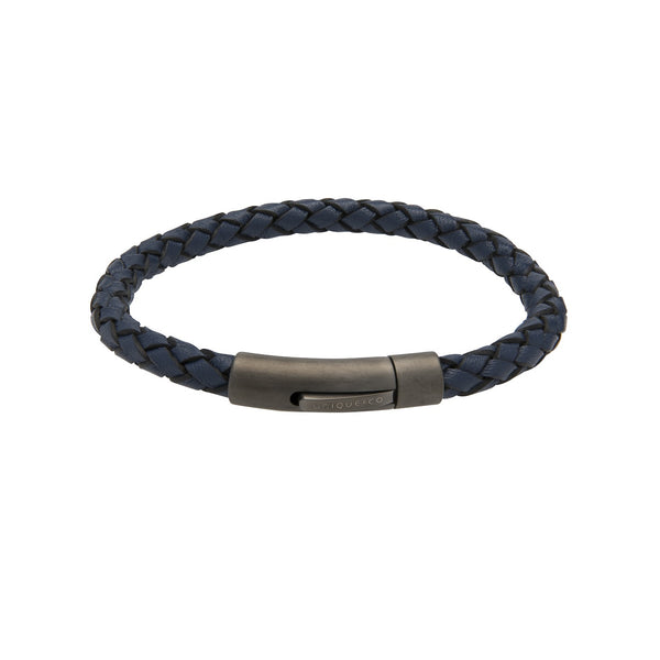 Unique & Co Mens Leather Bracelet B425BLUE