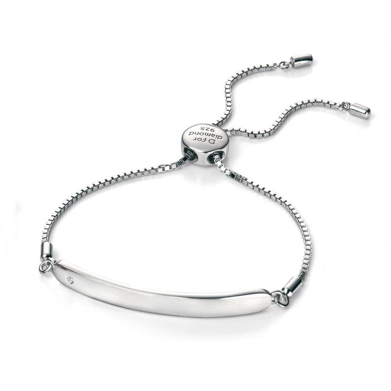 D for Diamond Silver Childs ID Bracelet with Diamond