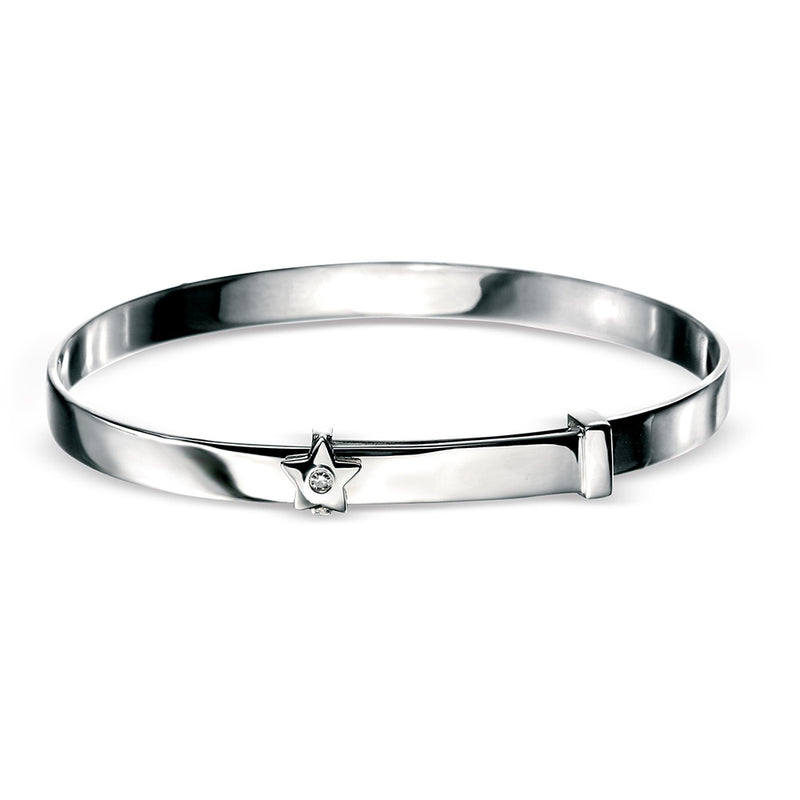 Sterling Silver Diamond Set Star Childs Expanding Bangle