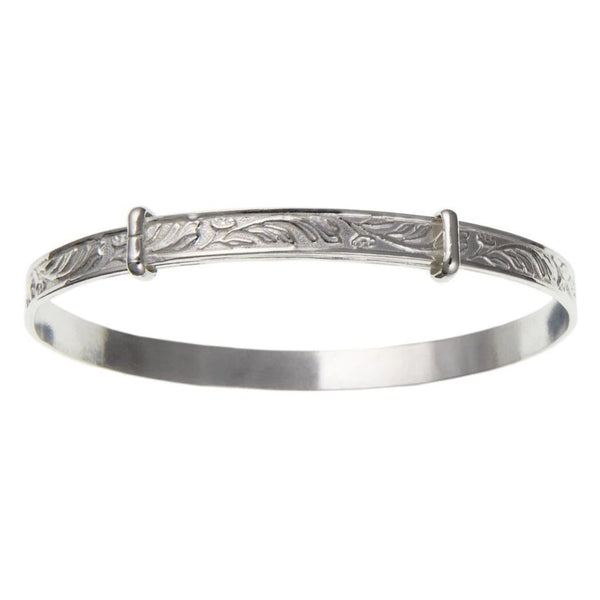 Sterling Silver Engraved  Childs Bangle BN21507