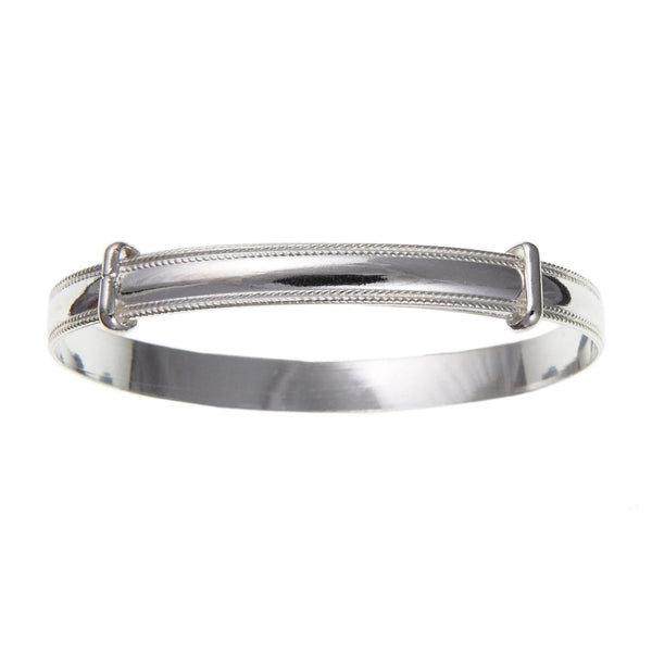 Sterling Silver Milled Edge Expanding Baby Bangle BN72507