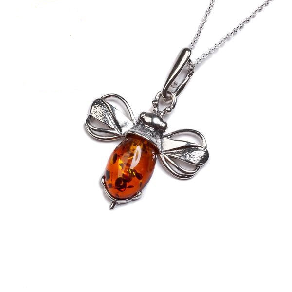 Henryka Miniature Bumble Bee Necklace in Silver and Amber