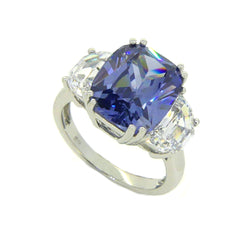 Sterling Silver 3 Stone Tanzanite Blue & White CZ Dress Ring