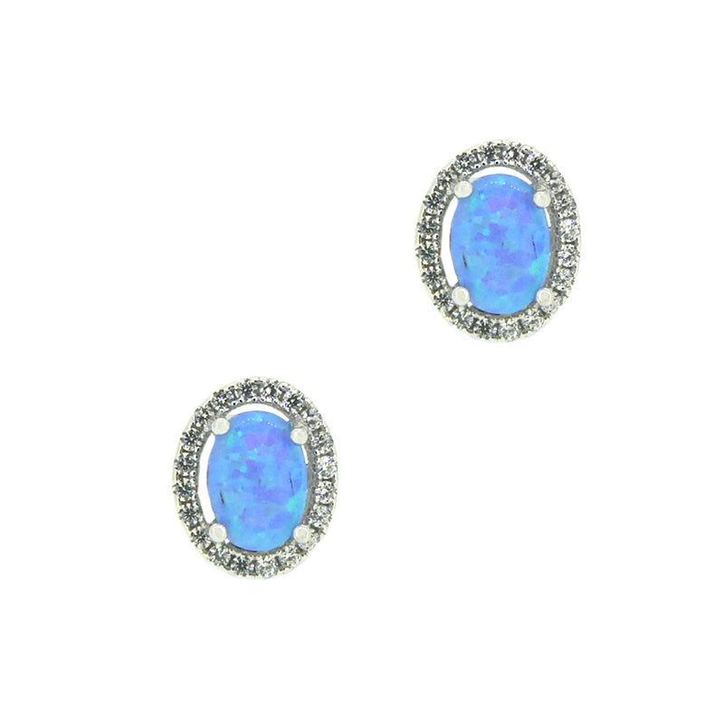 Sterling Silver CZ Oval Halo Cultured Opal Earrings