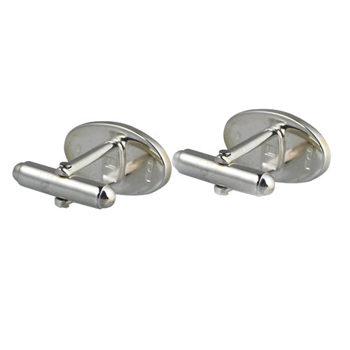 Sterling Silver Oval Cufflinks back