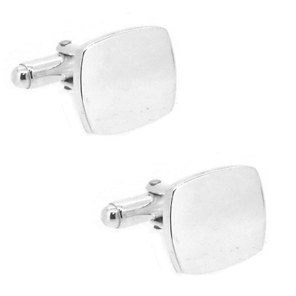 Sterling Silver Plain Cushion Cufflinks