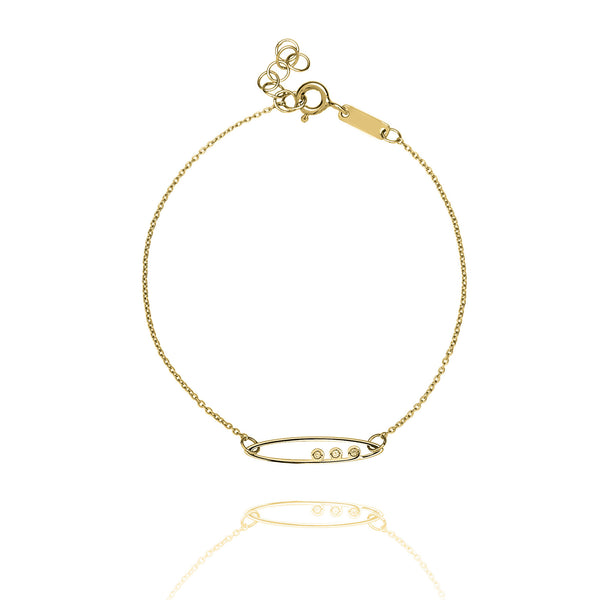Unique & Co Gold CZ Oval Bracelet DBR-27