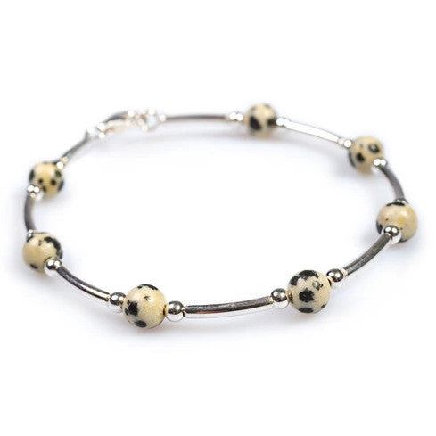 Henryka Bead Tube Bracelet in Silver and Dalmation Jasper