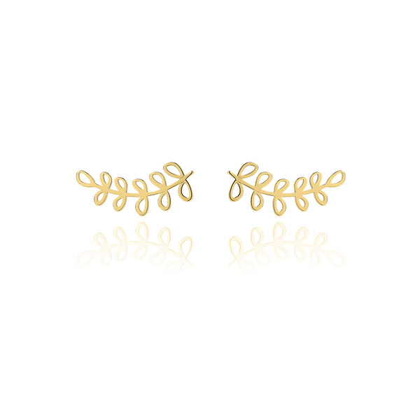 Unique & Co Gold Fern Earrings DE-10