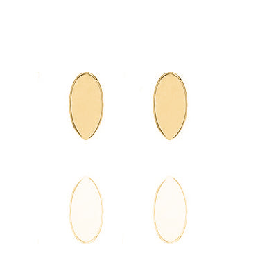 Unique & Co Gold Oval Disc Earrings DE-16