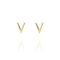 Unique & Co Gold V Stud Earrings DE-24