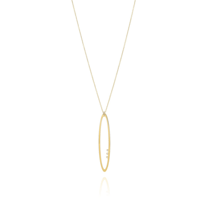 Unique & Co Gold CZ Open Oval Necklace DK-27