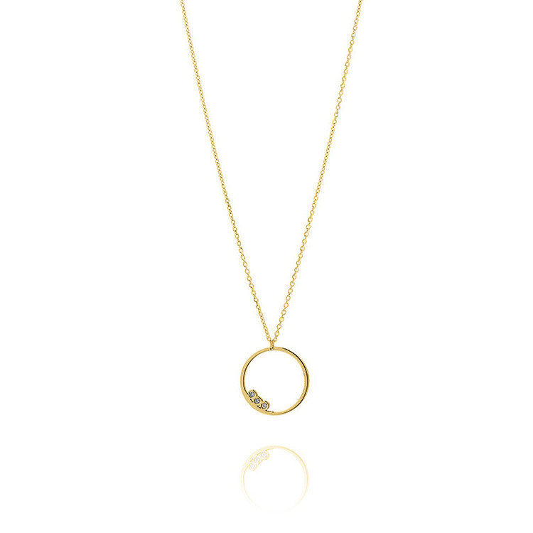Unique & Co Gold CZ Open Circle Necklace DK-8