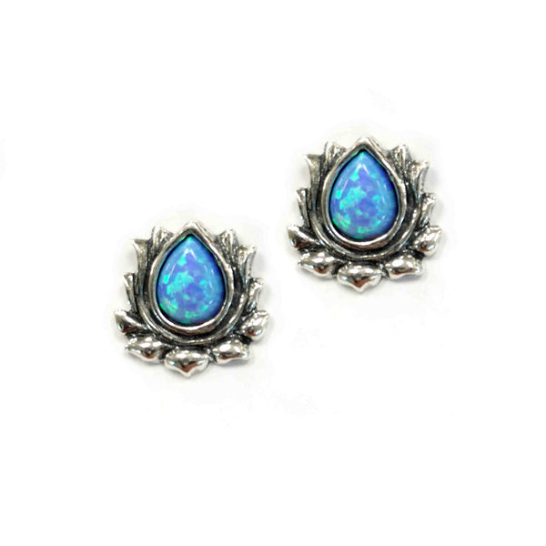 Aviv Silver Lotus Flower Opal Earrings