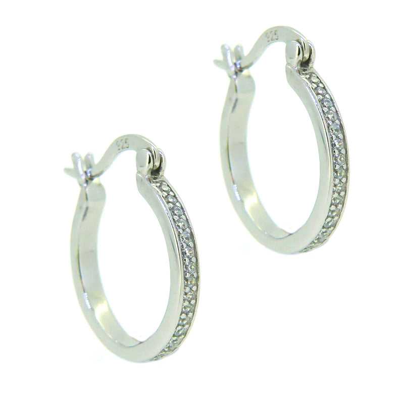 Sterling Silver CZ 16mm Hoop Earrings