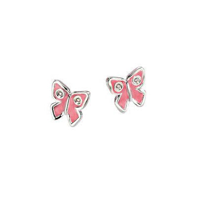 D for Diamond Enamel Butterfly Stud Children's Earrings