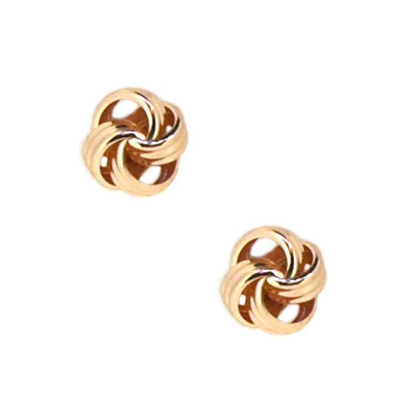 9ct Rose Gold 6mm Ribbed Knot Earrings