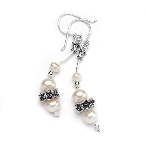 Aviv Silver Pearl Drop Earrings E6392