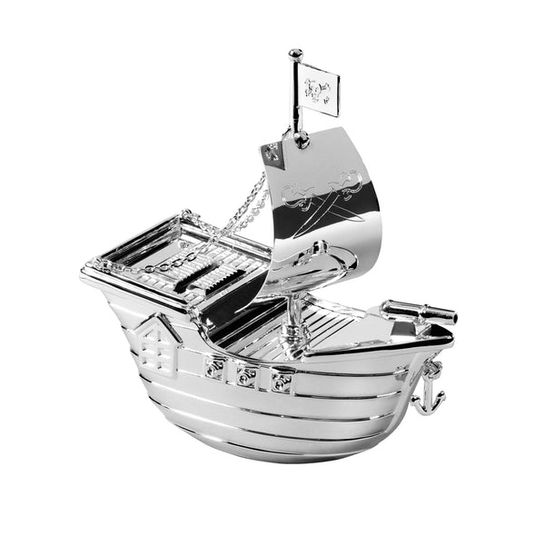 Silver Plated Pirate Ship Money Box 2785