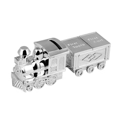 Silver Plated Train Money Box with Tooth & Curl Carriage 2840