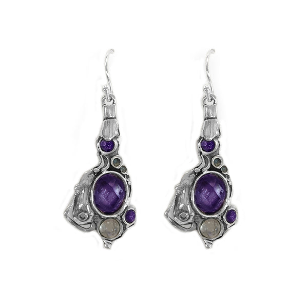 Aviv Sterling Silver Hook Earrings with Amethyst and Labradorite