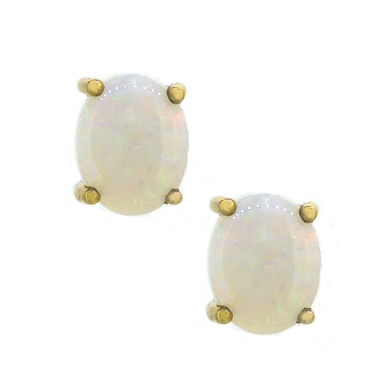 Opal Oval Stud Earrings Claw Set 9ct Yellow Gold