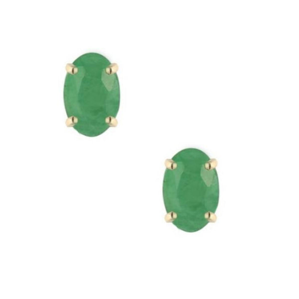 9ct Yellow Gold 5x3mm Oval Emerald Earrings GE1102EM