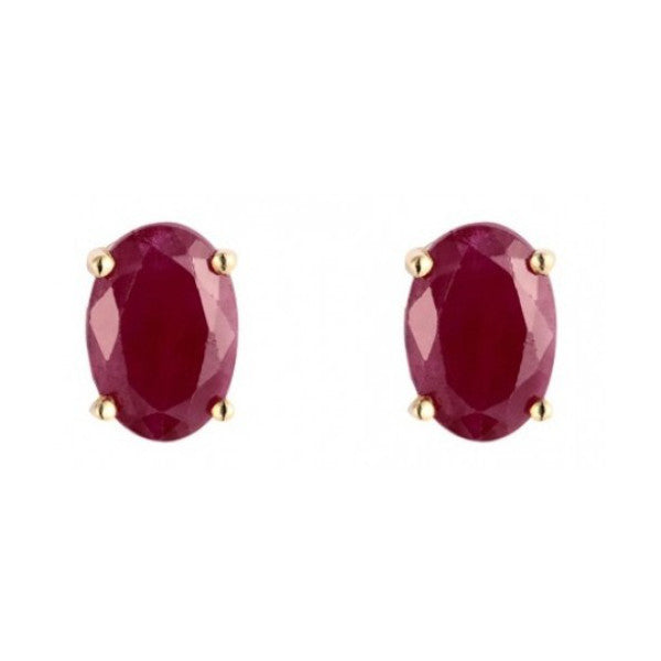 9ct Yellow Gold 6x4mm Oval Ruby Earrings