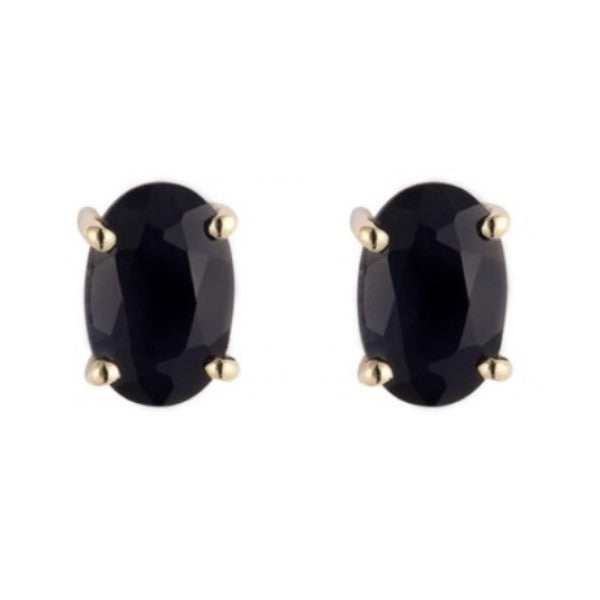 9ct Yellow Gold 6x4mm Oval Sapphire Earrings