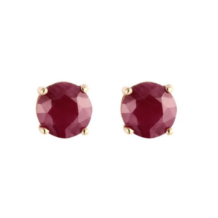 9ct Yellow Gold 4mm Ruby Earrings