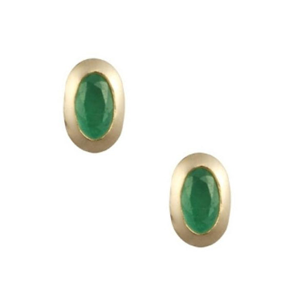 9ct Yellow Gold 5x3mm Oval Rub Over Set Emerald Earrings GE1117EM