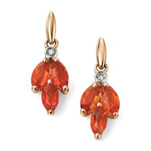 9ct Yellow Gold Diamond and Fire Opal Marquise Earrings GE2004R