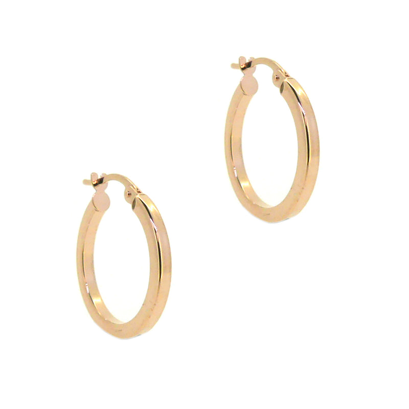 9ct Rose Gold 15mm Square Tube Hoop Earrings