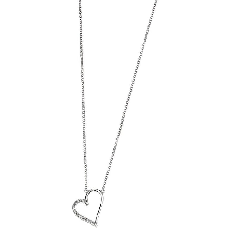 9ct White Gold Diamond Open Heart Necklace