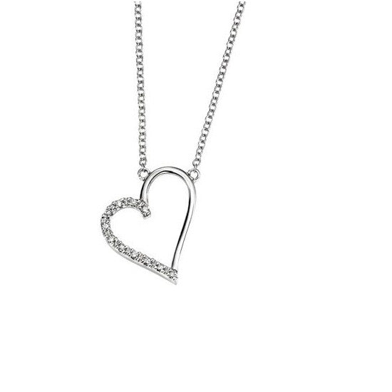 9ct White Gold Diamond Open Heart Necklace GN182