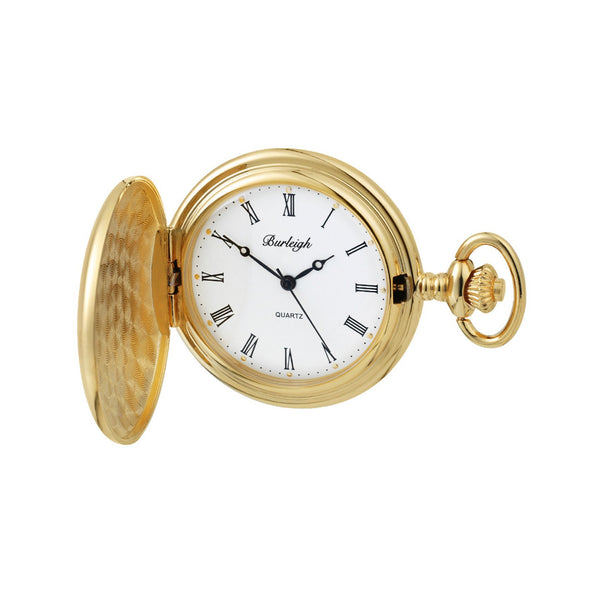 Burleigh Full Hunter Pocket Watch GP open